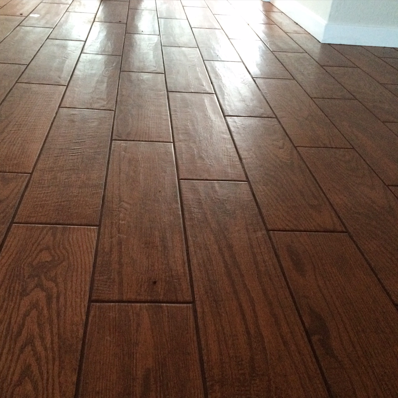Hardwood floor looking tile